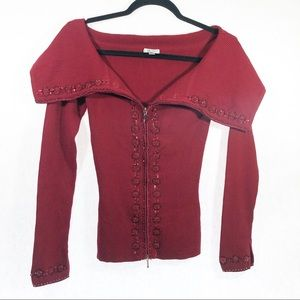 Cache red Holiday Ribbed Sweater Zip Size Small